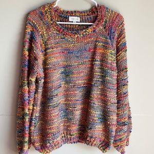 Orange Creek multi rainbow bubble sleeve sweater